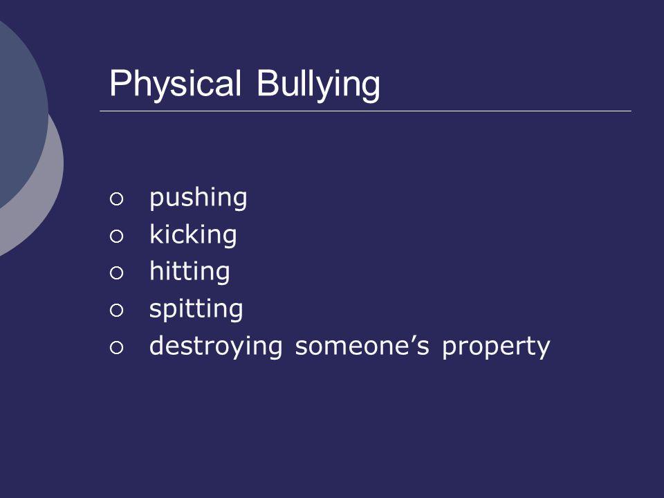 Physical Bullying  pushing  kicking  hitting  spitting  destroying someone's property