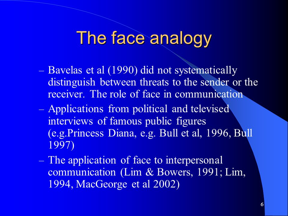6 The face analogy – Bavelas et al (1990) did not systematically distinguish between threats to the sender or the receiver. The role of face in commun