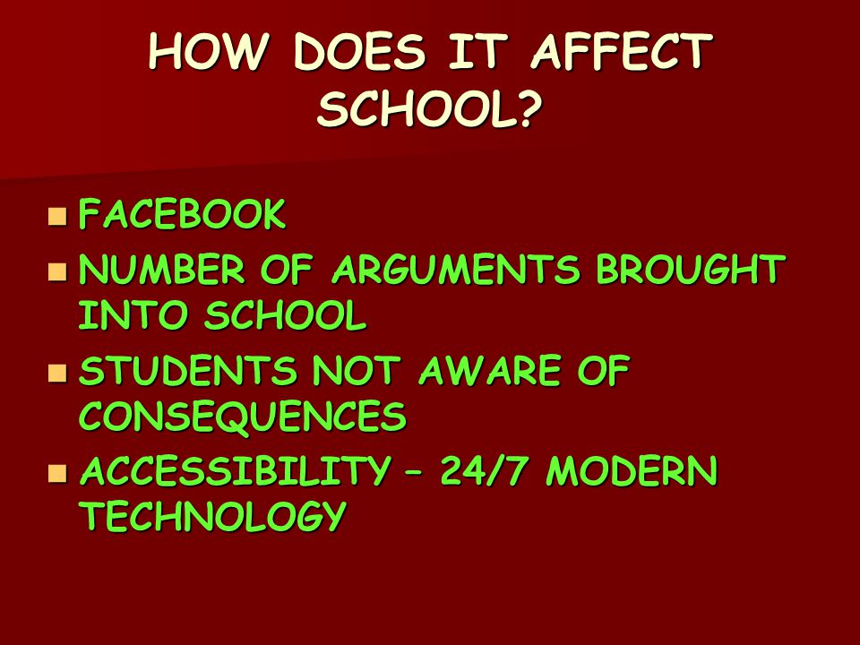 HOW DOES IT AFFECT SCHOOL.