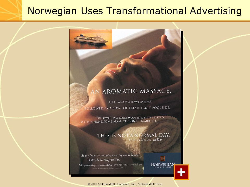 Norwegian Uses Transformational Advertising © 2003 McGraw-Hill Companies, Inc., McGraw-Hill/Irwin +