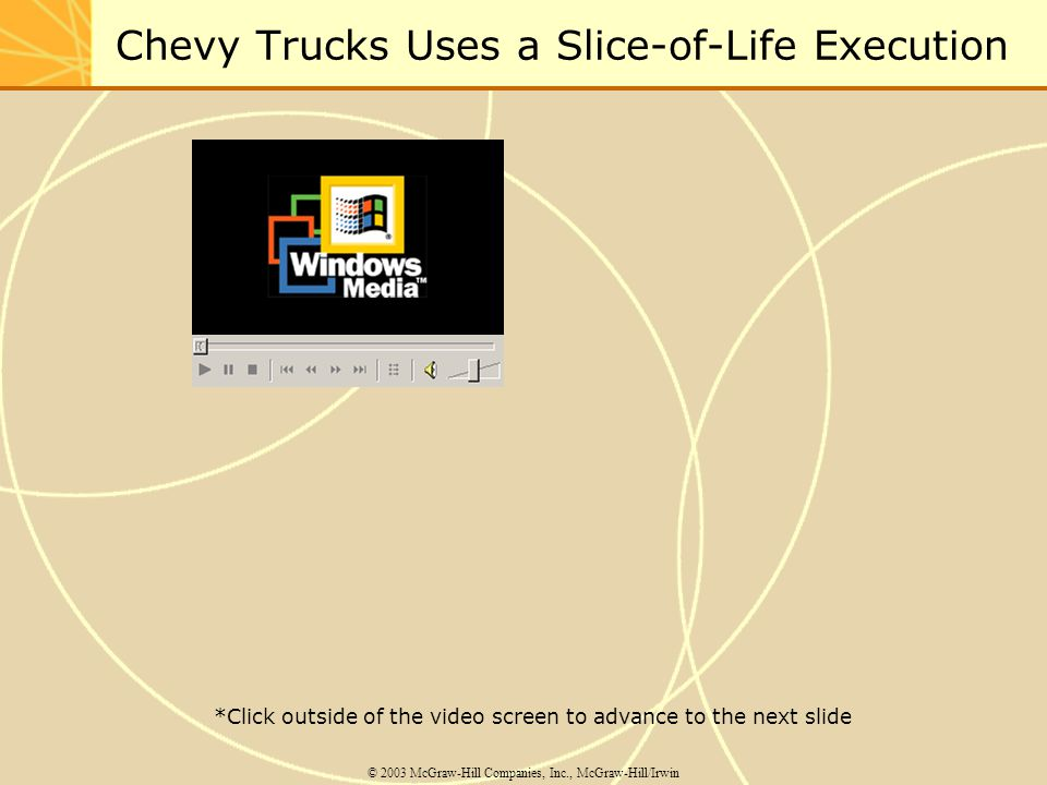 Chevy Trucks Uses a Slice-of-Life Execution © 2003 McGraw-Hill Companies, Inc., McGraw-Hill/Irwin *Click outside of the video screen to advance to the