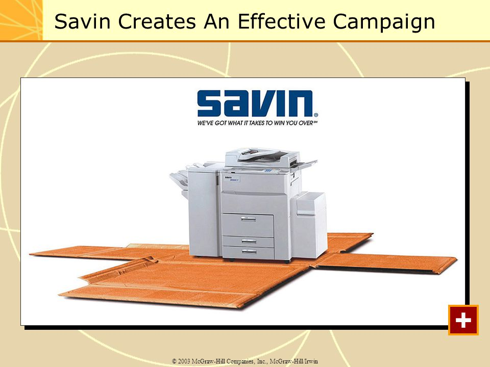 Savin Creates An Effective Campaign © 2003 McGraw-Hill Companies, Inc., McGraw-Hill/Irwin +
