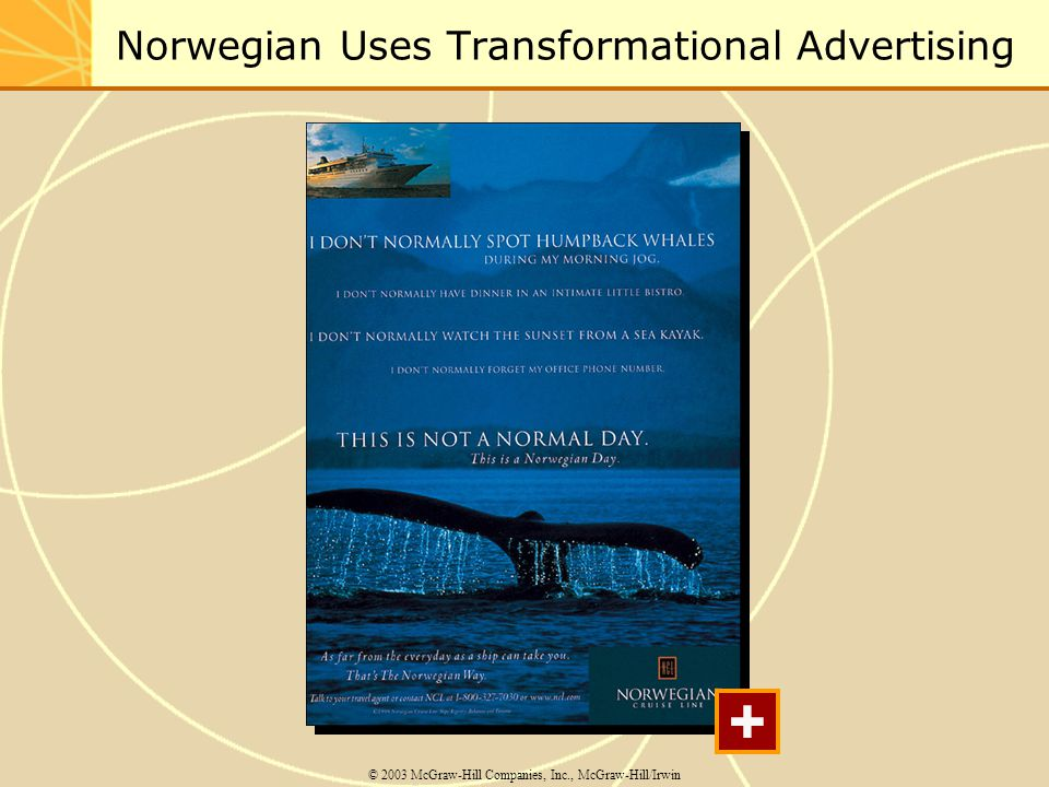 Norwegian Uses Transformational Advertising © 2003 McGraw-Hill Companies, Inc., McGraw-Hill/Irwin +