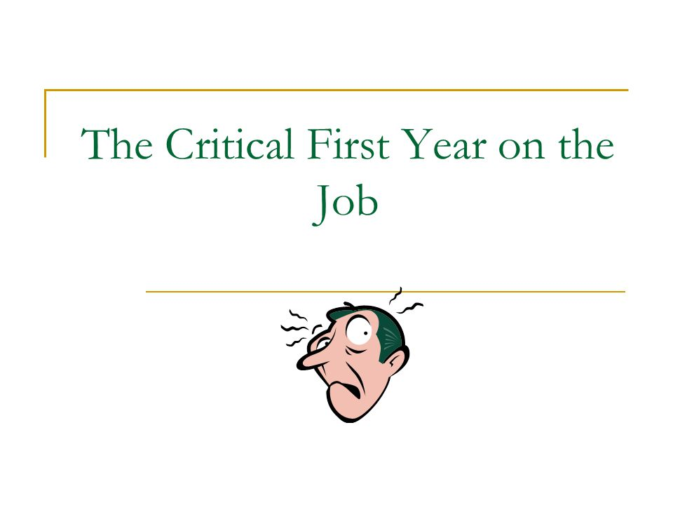 The Critical First Year on the Job