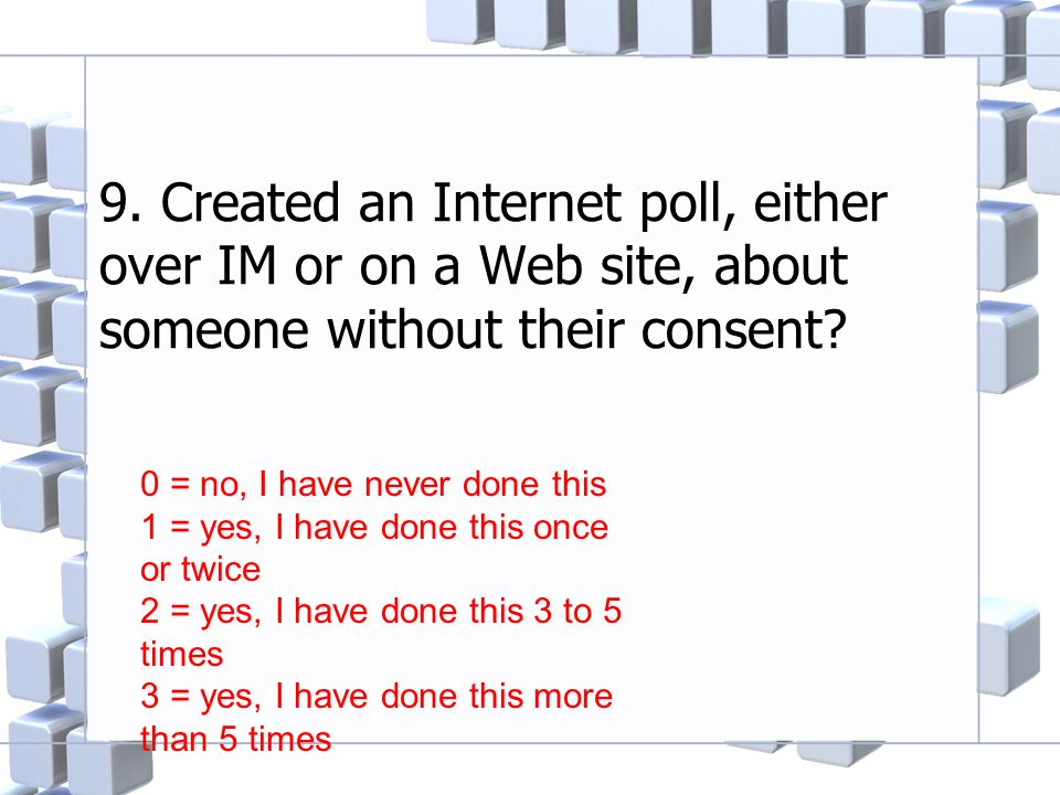 9. Created an Internet poll, either over IM or on a Web site, about someone without their consent? 0 = no, I have never done this 1 = yes, I have done