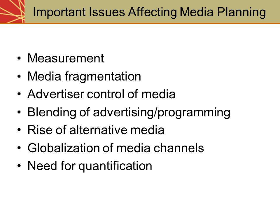 Measurement Media fragmentation Advertiser control of media Blending of advertising/programming Rise of alternative media Globalization of media chann