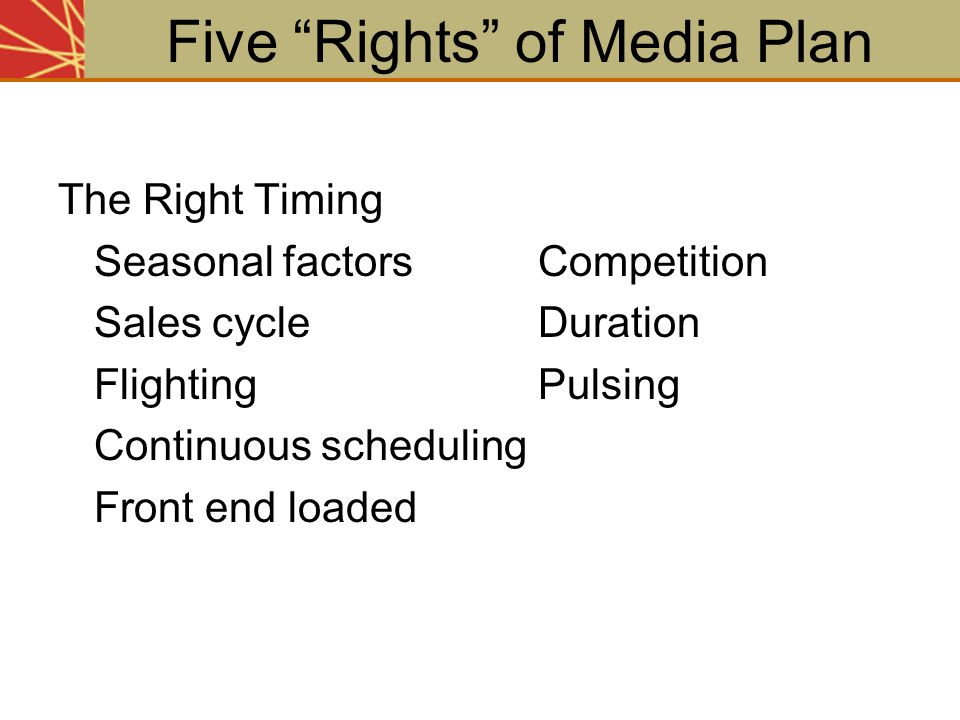"""The Right Timing Seasonal factorsCompetition Sales cycleDuration FlightingPulsing Continuous scheduling Front end loaded Five """"Rights"""" of Media Plan"""