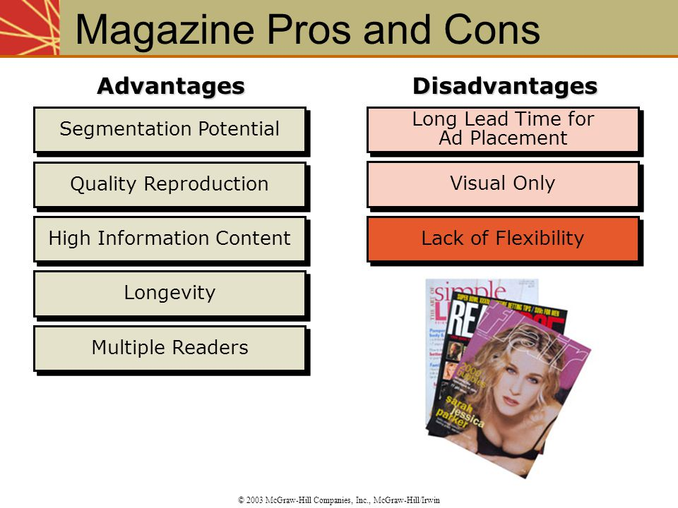Visual Only Long Lead Time for Ad Placement Lack of Flexibility Segmentation Potential Quality Reproduction High Information Content Longevity Multipl