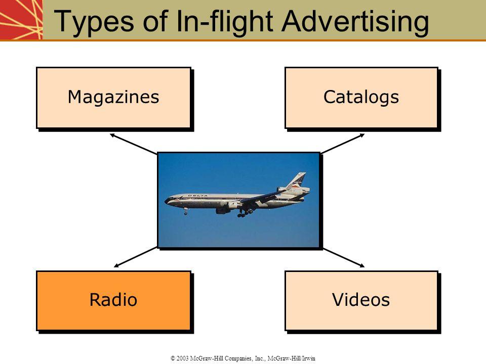 Magazines Catalogs Videos Catalogs Magazines Types of In-flight Advertising © 2003 McGraw-Hill Companies, Inc., McGraw-Hill/Irwin Radio