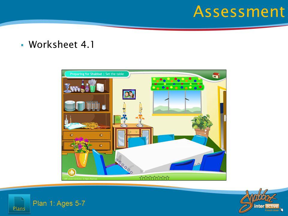  Worksheet 4.1 Assessment Plan 1: Ages 5-7 Plans