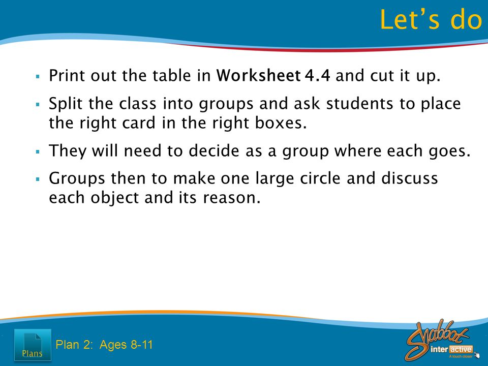  Print out the table in Worksheet 4.4 and cut it up.