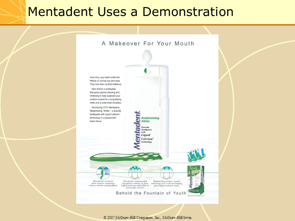 Mentadent Uses a Demonstration © 2007 McGraw-Hill Companies, Inc., McGraw-Hill/Irwin