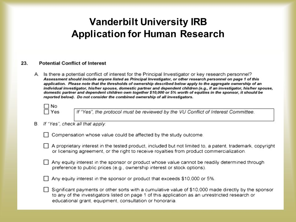 Vanderbilt University IRB Application for Human Research