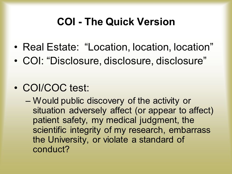 Office of Research (continued) Situation reviewed when notice of funding received.