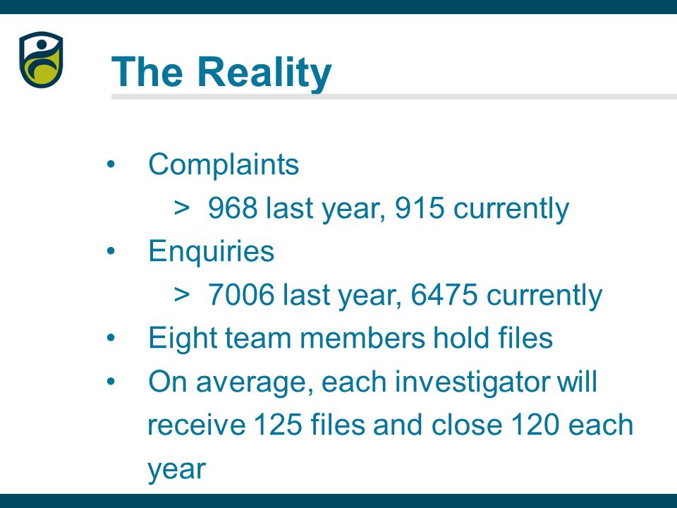 The Reality Complaints > 968 last year, 915 currently Enquiries > 7006 last year, 6475 currently Eight team members hold files On average, each investigator will receive 125 files and close 120 each year