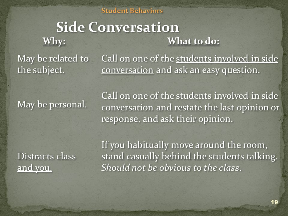 Student Behaviors Side Conversation Why: May be related to the subject.
