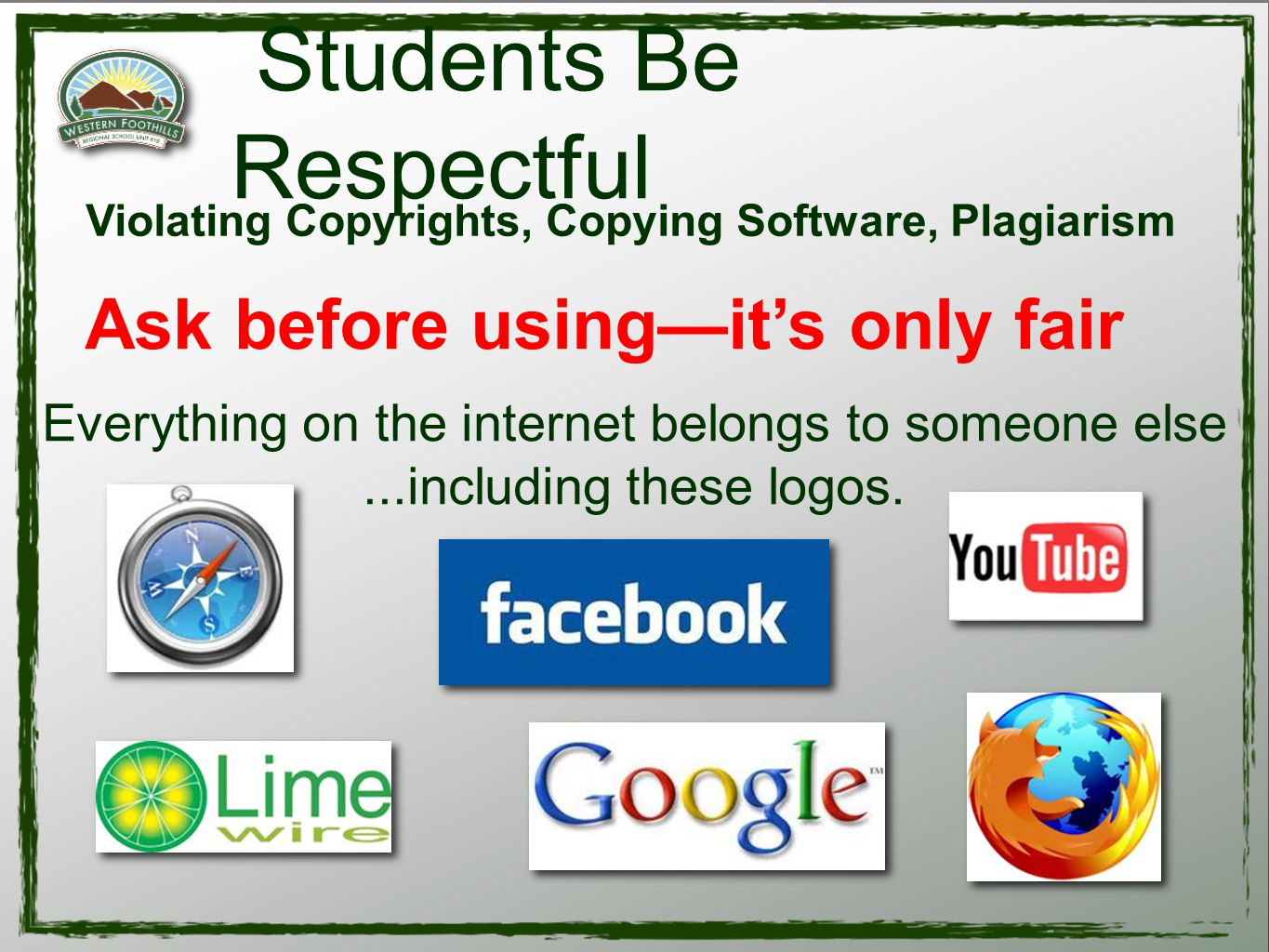 Violating Copyrights, Copying Software, Plagiarism Students Be Respectful Ask before using—it's only fair Everything on the internet belongs to someone else...including these logos.