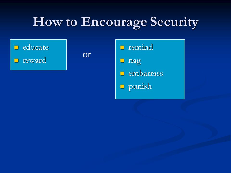 How to Encourage Security educate educate reward reward remind nag embarrass punish or