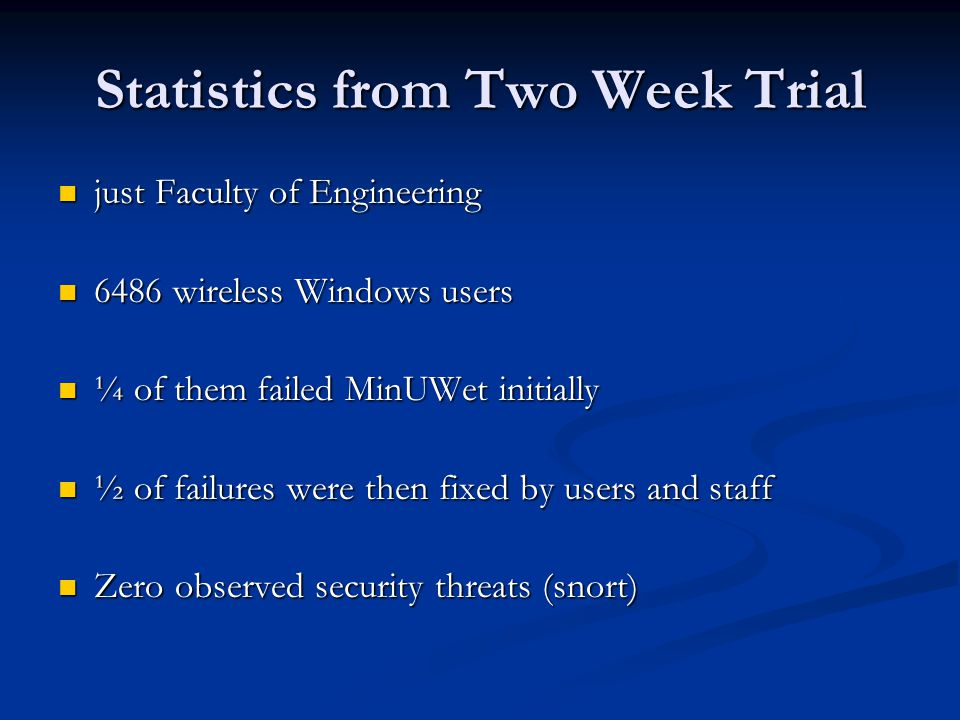 Statistics from Two Week Trial just Faculty of Engineering just Faculty of Engineering 6486 wireless Windows users 6486 wireless Windows users ¼ of them failed MinUWet initially ¼ of them failed MinUWet initially ½ of failures were then fixed by users and staff ½ of failures were then fixed by users and staff Zero observed security threats (snort) Zero observed security threats (snort)