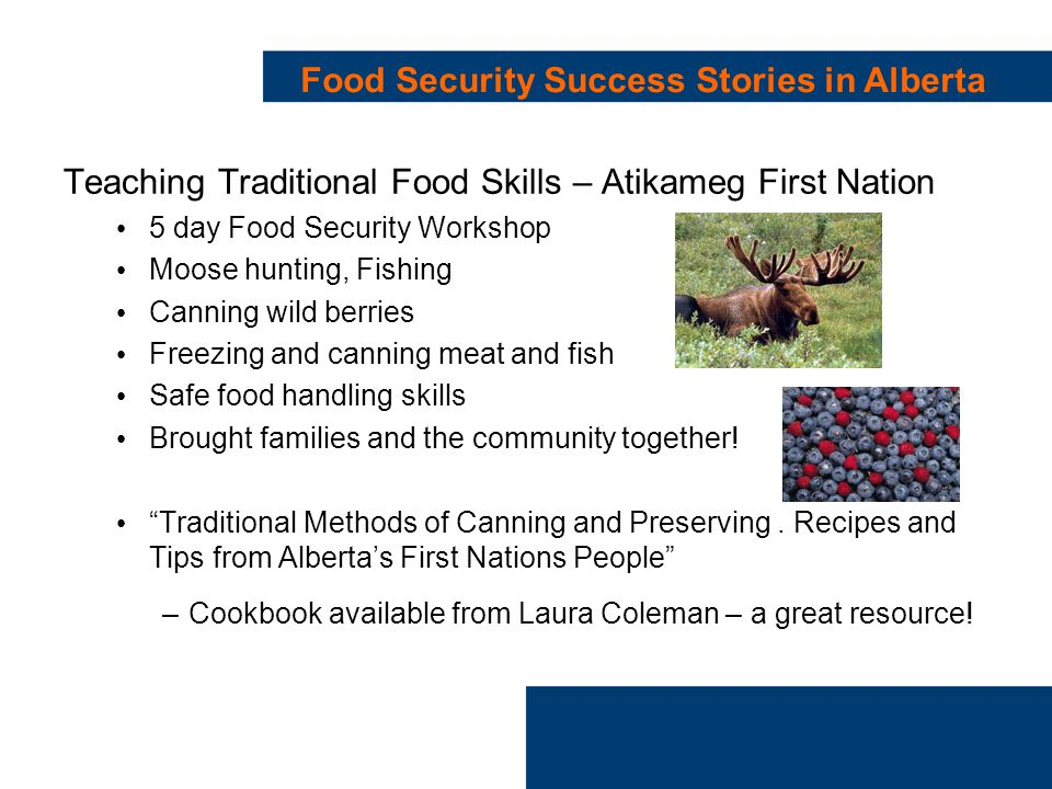 Food Security Success Stories in Alberta Teaching Traditional Food Skills – Atikameg First Nation 5 day Food Security Workshop Moose hunting, Fishing Canning wild berries Freezing and canning meat and fish Safe food handling skills Brought families and the community together.
