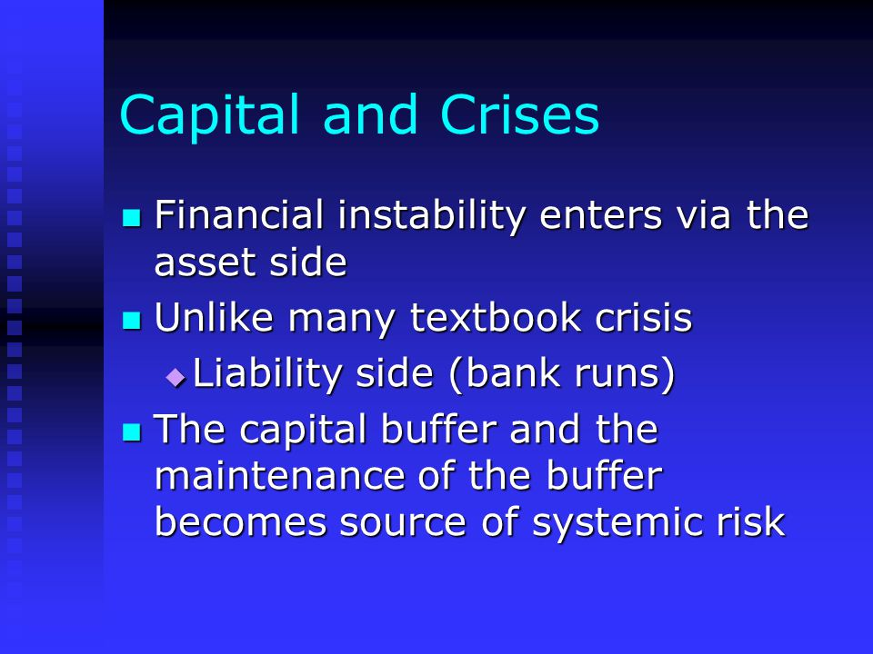 Capital and Crises Financial instability enters via the asset side Financial instability enters via the asset side Unlike many textbook crisis Unlike