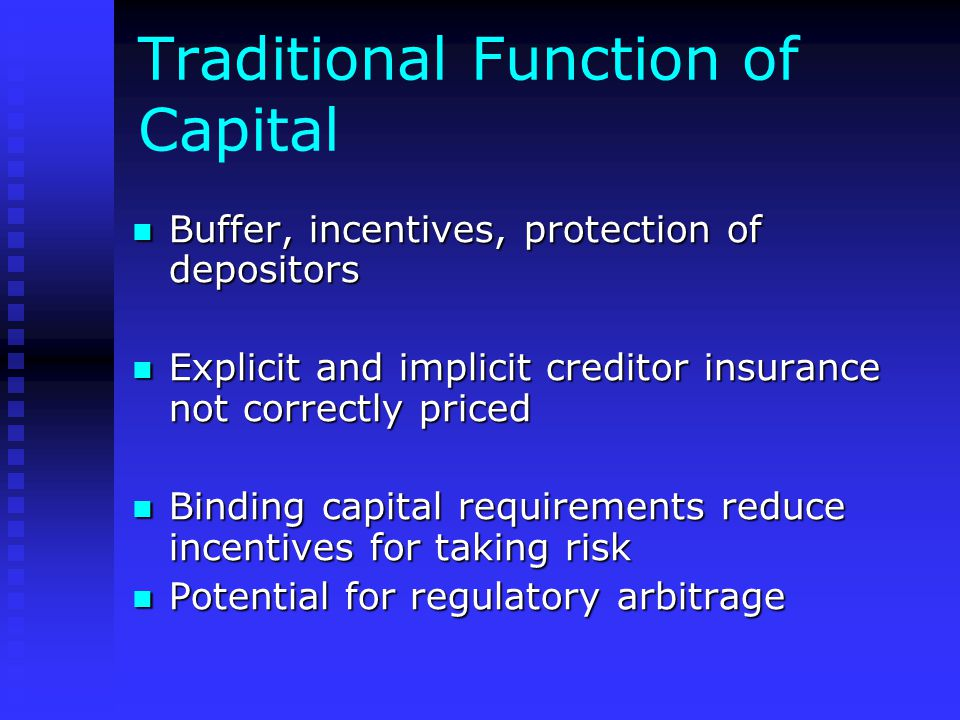 Traditional Function of Capital Buffer, incentives, protection of depositors Buffer, incentives, protection of depositors Explicit and implicit creditor insurance not correctly priced Explicit and implicit creditor insurance not correctly priced Binding capital requirements reduce incentives for taking risk Binding capital requirements reduce incentives for taking risk Potential for regulatory arbitrage Potential for regulatory arbitrage
