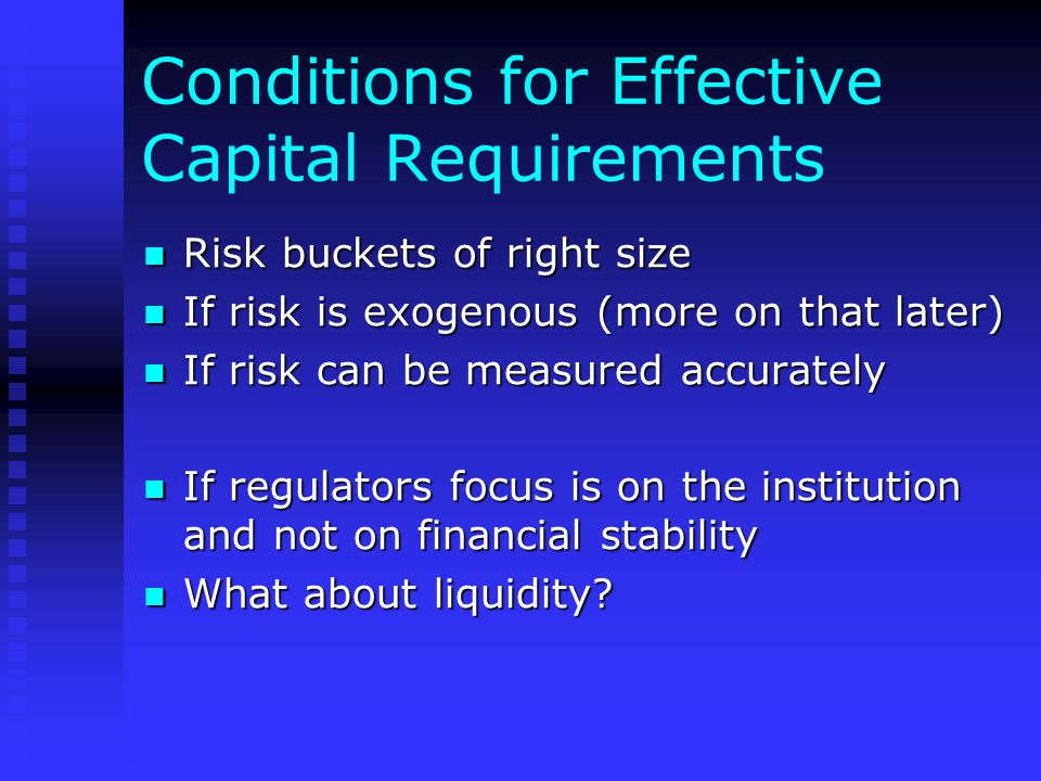 Conditions for Effective Capital Requirements Risk buckets of right size Risk buckets of right size If risk is exogenous (more on that later) If risk is exogenous (more on that later) If risk can be measured accurately If risk can be measured accurately If regulators focus is on the institution and not on financial stability If regulators focus is on the institution and not on financial stability What about liquidity.