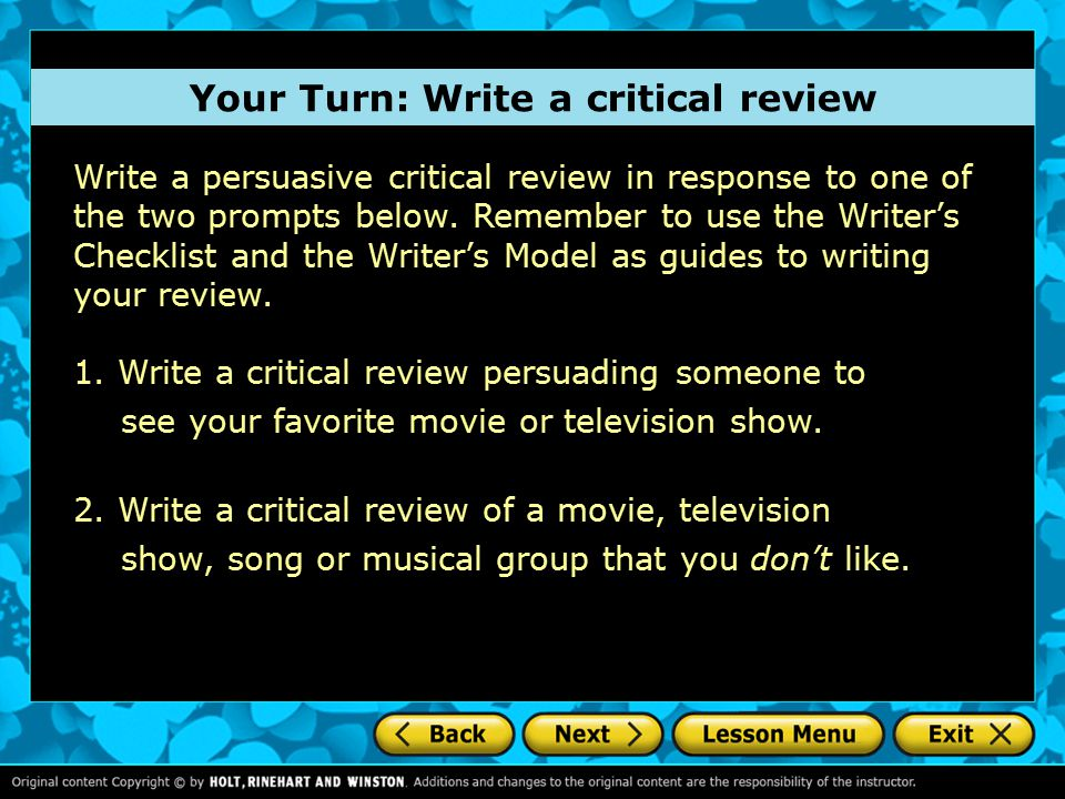 Write a persuasive critical review in response to one of the two prompts below.
