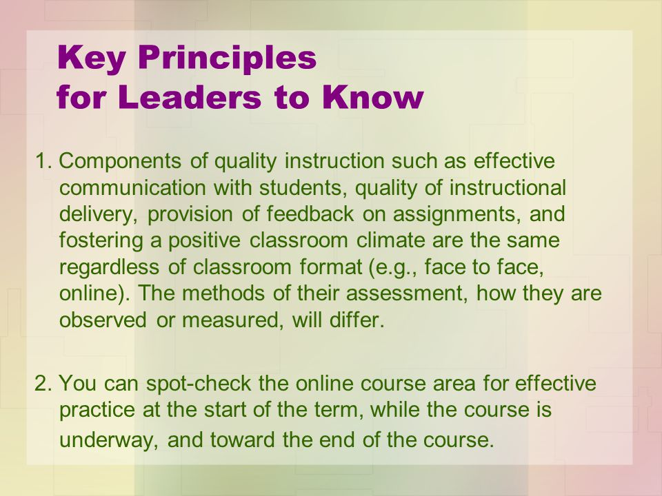 Key Principles for Leaders to Know 1.