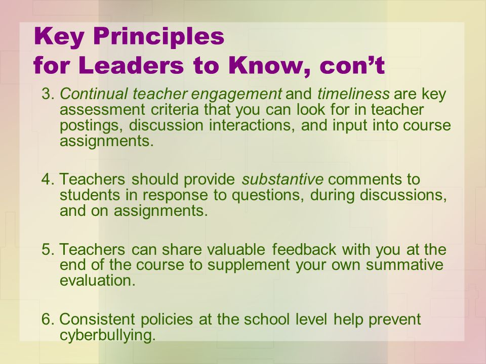 Key Principles for Leaders to Know, con't 3.