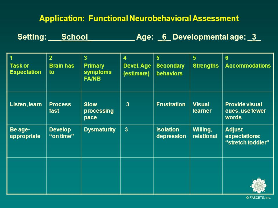 © FASCETS, Inc. Application: Functional Neurobehavioral Assessment Setting: ___School___________ Age: _6_ Developmental age: _3_ 1 Task or Expectation