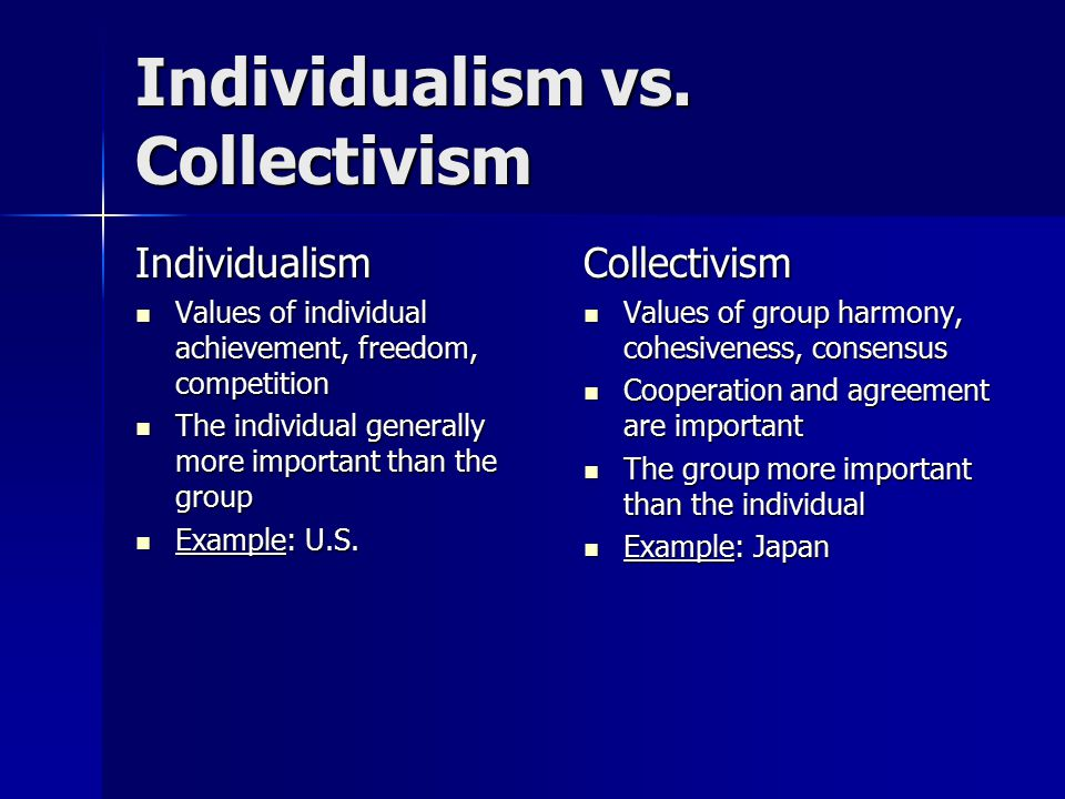 Individualism vs. Collectivism Individualism Values of individual achievement, freedom, competition Values of individual achievement, freedom, competi