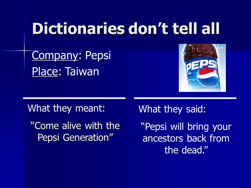 Dictionaries don't tell all Company: Pepsi Place: Taiwan What they meant: Come alive with the Pepsi Generation What they said: Pepsi will bring your ancestors back from the dead.