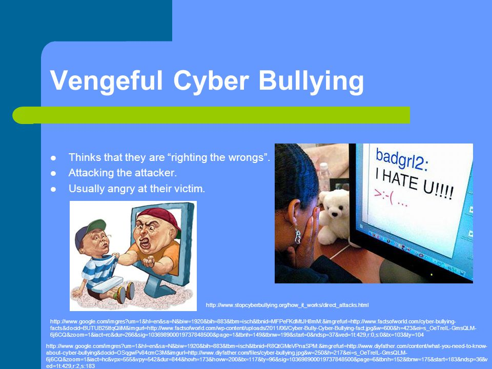 "Vengeful Cyber Bullying Thinks that they are ""righting the wrongs"". Attacking the attacker. Usually angry at their victim. http://www.google.com/imgre"