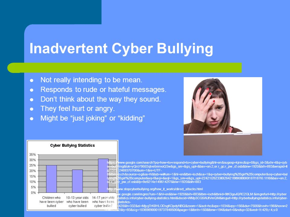 Inadvertent Cyber Bullying Not really intending to be mean. Responds to rude or hateful messages. Don't think about the way they sound. They feel hurt