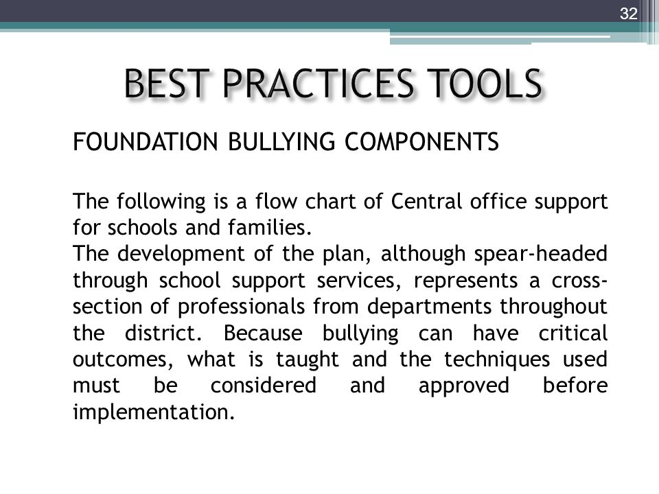 32 FOUNDATION BULLYING COMPONENTS The following is a flow chart of Central office support for schools and families.