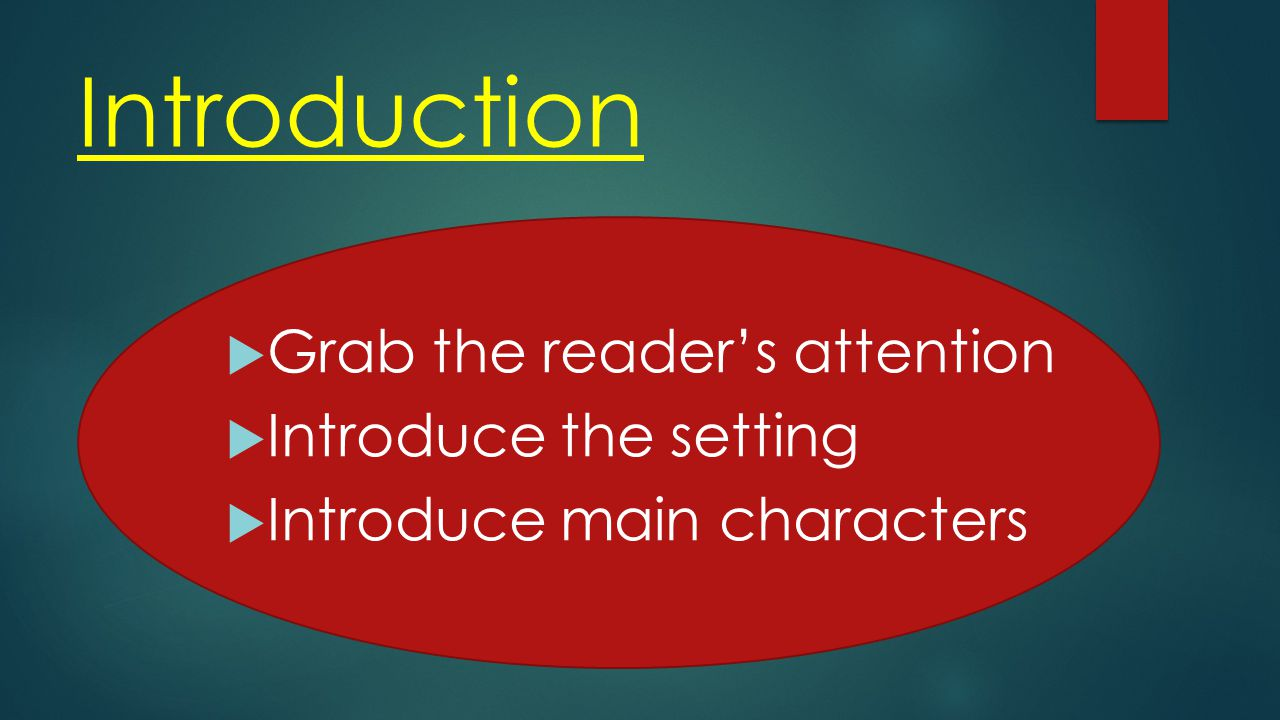Introduction  Grab the reader's attention  Introduce the setting  Introduce main characters