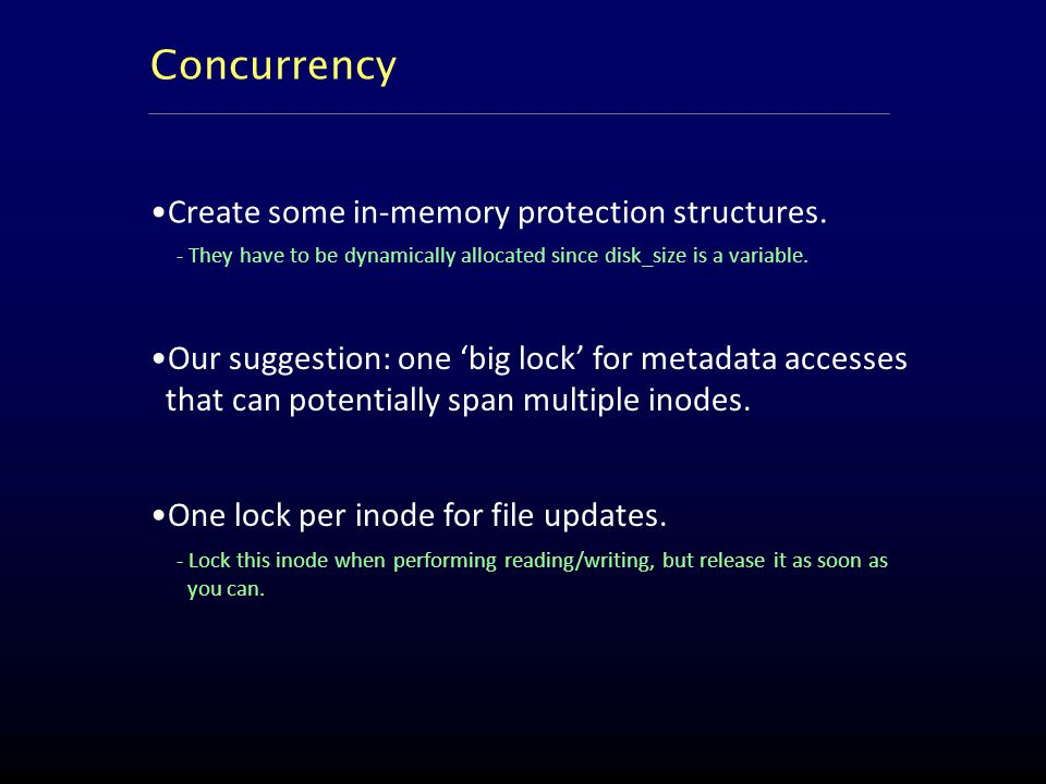 Our suggestion: one 'big lock' for metadata accesses that can potentially span multiple inodes.