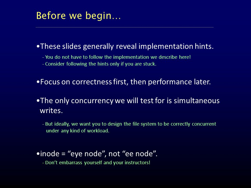 These slides generally reveal implementation hints.