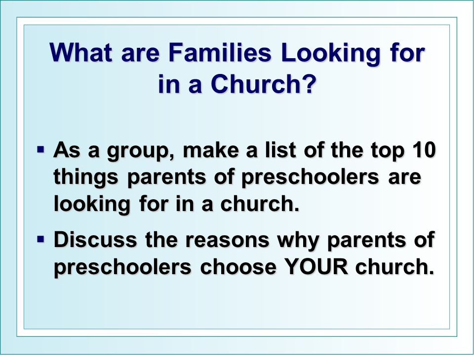What are Families Looking for in a Church.