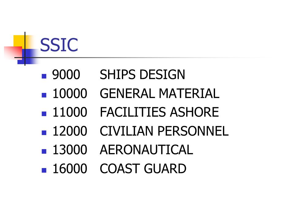 SSIC 9000SHIPS DESIGN 10000GENERAL MATERIAL 11000FACILITIES ASHORE 12000CIVILIAN PERSONNEL 13000AERONAUTICAL 16000COAST GUARD