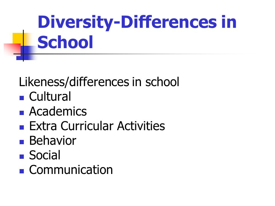 Diversity-Differences in School Likeness/differences in school Cultural Academics Extra Curricular Activities Behavior Social Communication