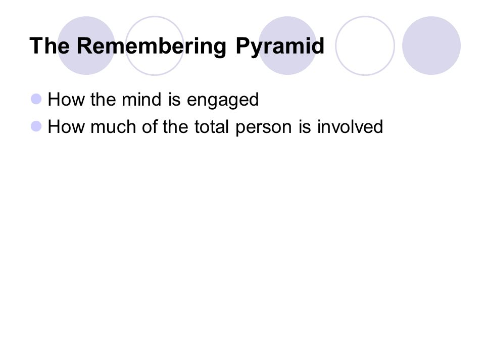 The Remembering Pyramid How the mind is engaged How much of the total person is involved