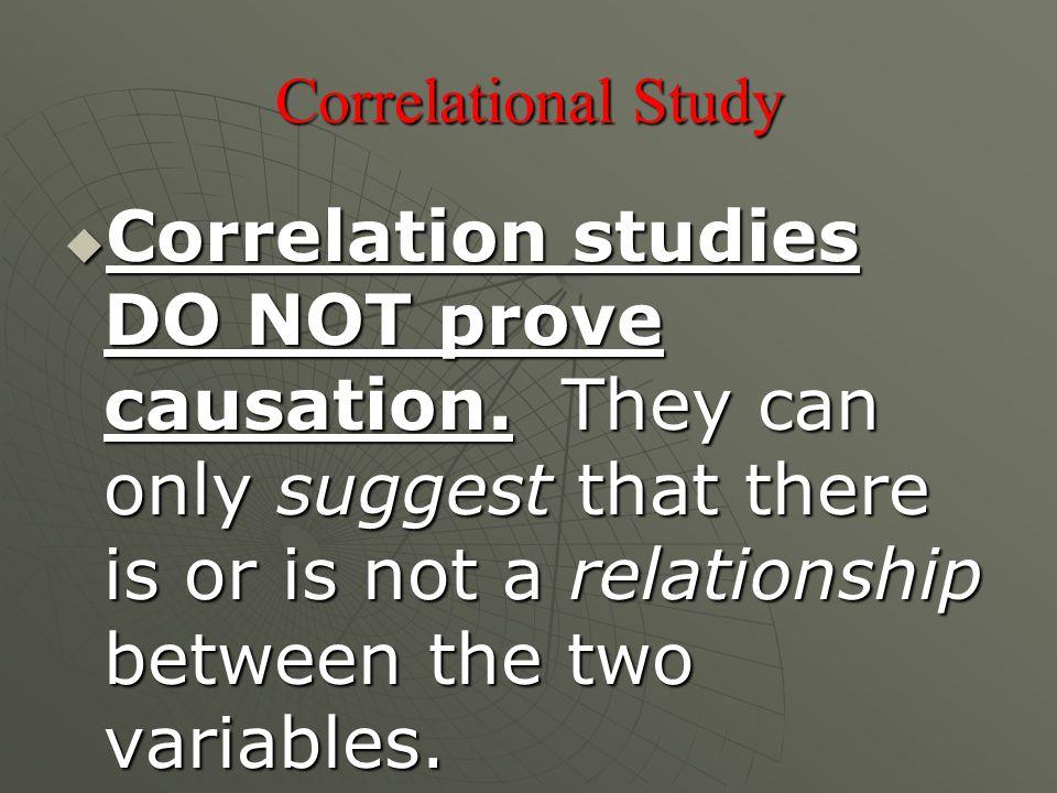 Correlational Study  Correlation studies DO NOT prove causation.
