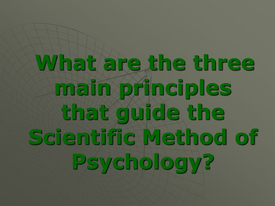 What are the three main principles that guide the Scientific Method of Psychology.