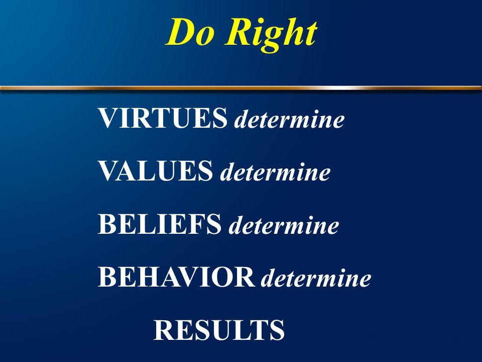 Do Right VIRTUES determine VALUES determine BELIEFS determine BEHAVIOR determine RESULTS