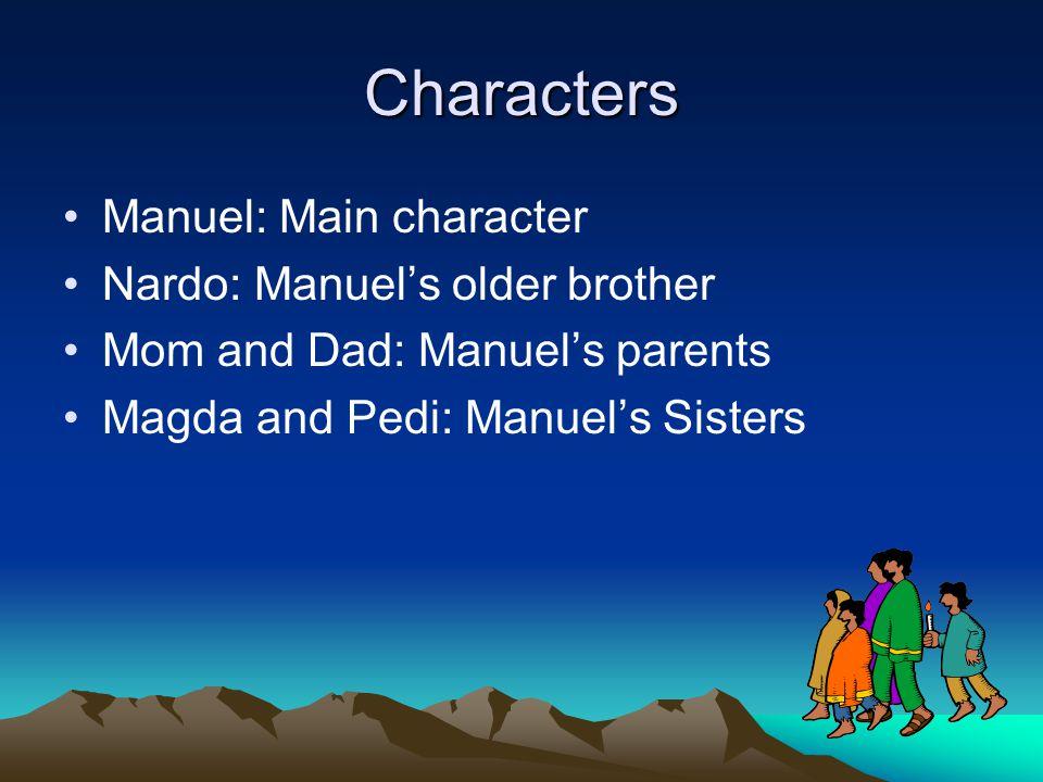 Characters Manuel: Main character Nardo: Manuel's older brother Mom and Dad: Manuel's parents Magda and Pedi: Manuel's Sisters