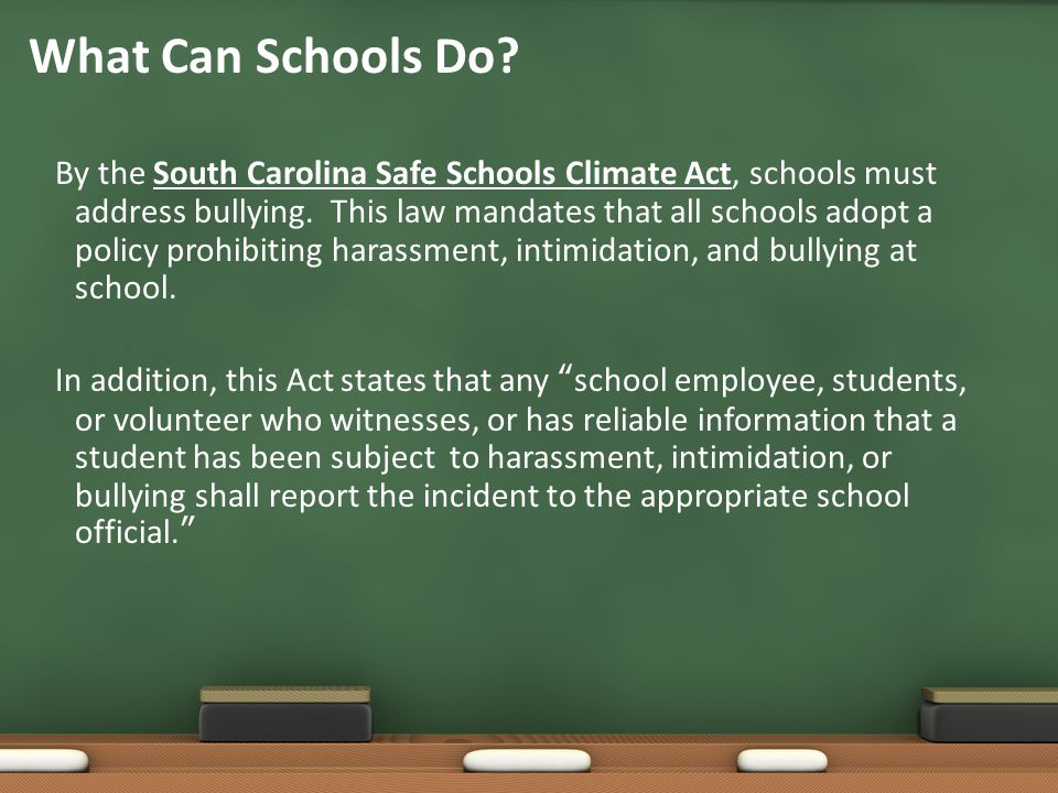 By the South Carolina Safe Schools Climate Act, schools must address bullying. This law mandates that all schools adopt a policy prohibiting harassmen
