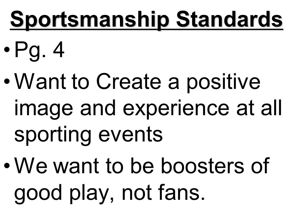Sportsmanship Standards Pg.