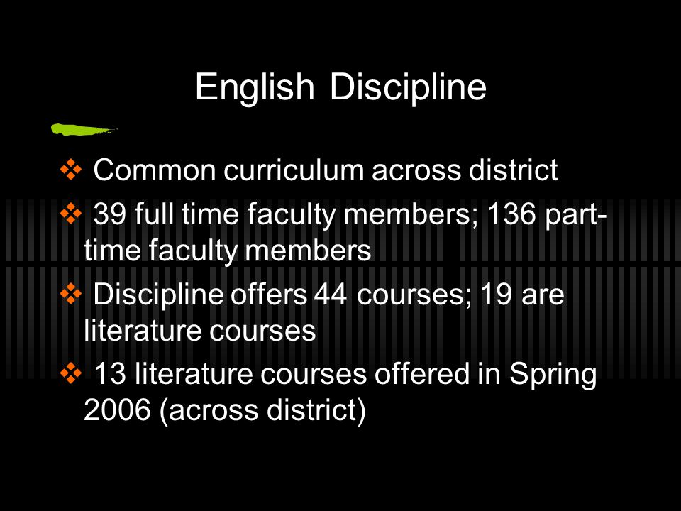 English Discipline  Common curriculum across district  39 full time faculty members; 136 part- time faculty members  Discipline offers 44 courses; 19 are literature courses  13 literature courses offered in Spring 2006 (across district)